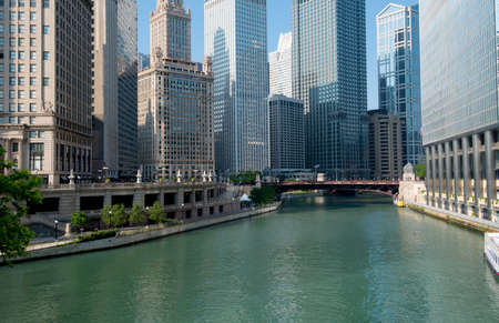 illinois river: The famous Chicago River in the city of Chicago Illinois Stock Photo
