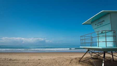 Lifeguard hut at beach in southern California