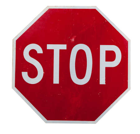with stop sign: A red stop sign on a white background Stock Photo