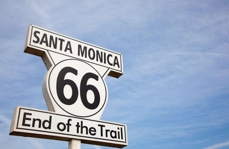 Route 66 highway sign at the end of Route 66 in Santa Monica California photo
