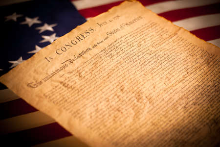 americana: United States Declaration of Independence on a Betsy Ross flag background