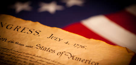 declaration of independence: United States Declaration of Independence on a Betsy Ross flag background