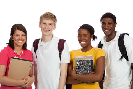A group of multi-racial college students with backpacks and books on a white background