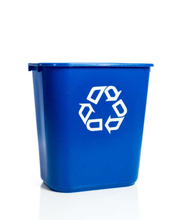 bin: A blue recycling bin on a white background Stock Photo