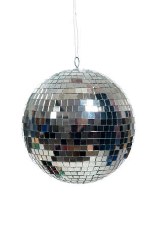 discoball: A silver mirrored disco ball on a white background Stock Photo