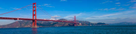A panoramic view of the Golden Gate Bridge in San Francisco, California