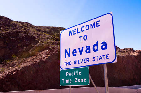 nevada: Welcome to Nevada road sign - the silver state