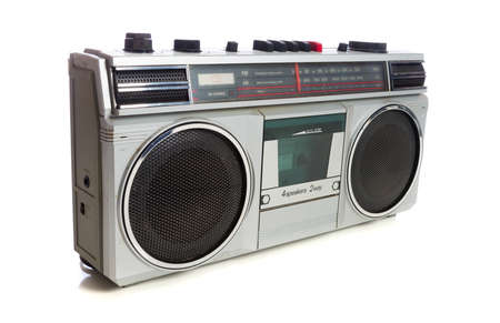 vintage radio or boom box on white background