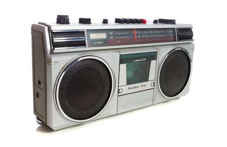 boom box: vintage radio or boom box on white background