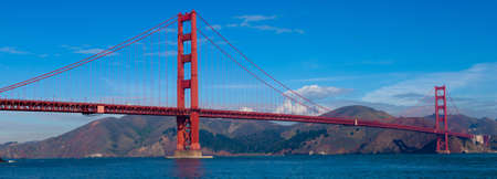 golden: A panoramic view of the Golden Gate Bridge in San Francisco, California