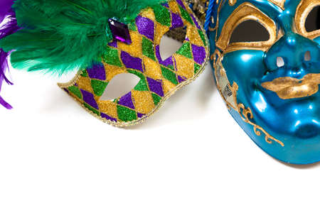 Mardi gras masks on a white background photo