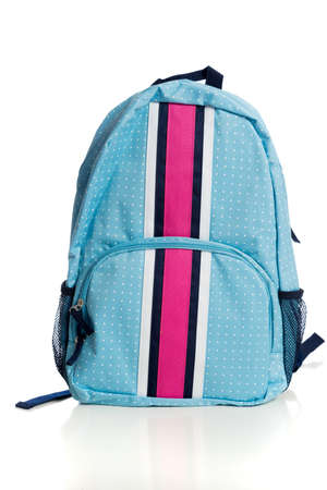 A blue and pink backpack on a white background