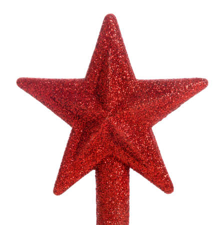 A red glittered star Christmas tree topper Stock Photo