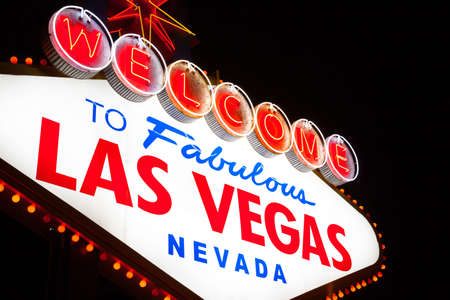 The famous Welcome to Fabulous Las Vegas sign at night photo