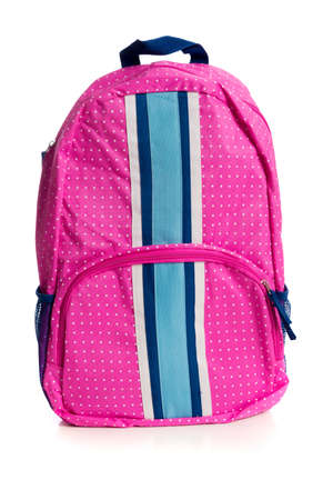 bookbag: A pink polka dotted backpack on a white background