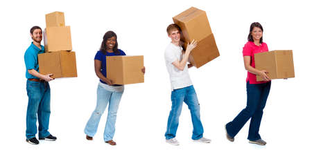 storage box: A group of college students and friends carrying moving boxes on a white background