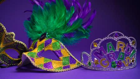 mardigras: Festive Grouping of mardi gras, venetian or carnivale mask on a purple background