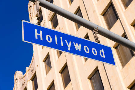The blue Hollywood Blvd. Street sign