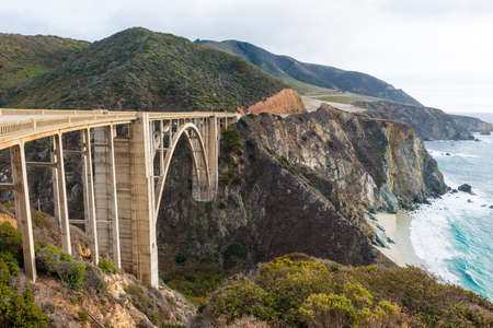 big sur: The Historic Bixby Bridge on the Pacific Coast Highway California Big Sur