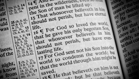 A Bible opened to the verse John 3 16