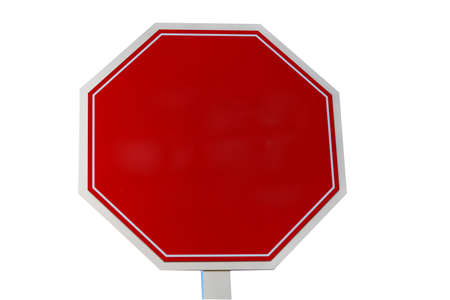 trafic: A red blank stop sign or warning sign add text or graphics