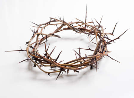 christian: Crown of thorns on a white background Easter religious motif commemorating the resurrection of Jesus- Easter Stock Photo