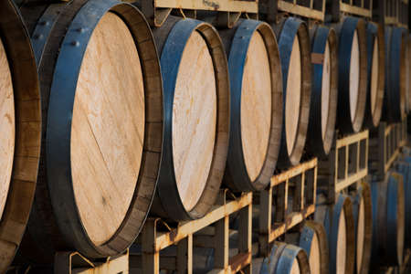 ブドウ畑でワイン樽のスタック 写真素材