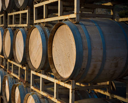 strapping: A stack of wine barrels at a vineyard