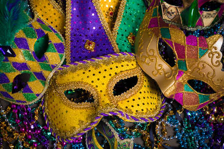 disguise: A venetian, mardi gras mask or disguise on a dark background