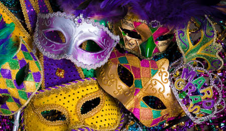 disguise: A group of venetian, mardi gras mask or disguise on a dark background