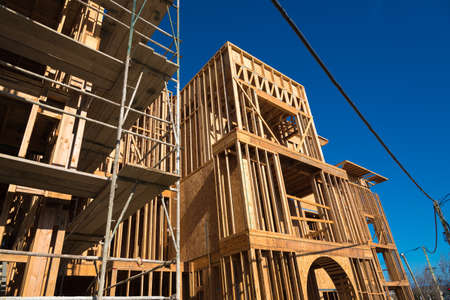 wooden joists: Wooden framing for construction of new condominiums, apartments or townhomes