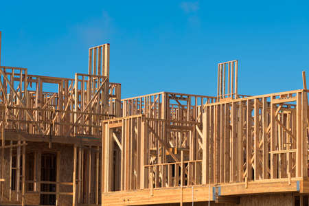 2x4 wood: Wooden framing for construction of new condominiums, apartments or townhomes