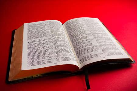 Open leather King James Bible religous symbol Stockfoto