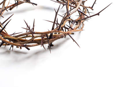 christian faith: Crown of thorns on a white background Easter religious motif commemorating the resurrection of Jesus- Easter Stock Photo