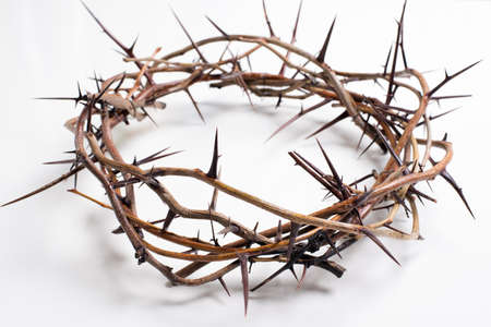 the christ: Crown of thorns on a white background Easter religious motif commemorating the resurrection of Jesus- Easter Stock Photo