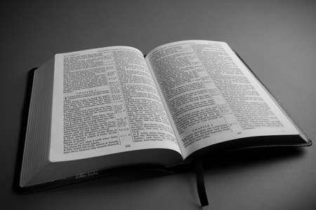 king james: Open leather King James Bible religous symbol Stock Photo
