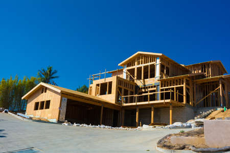work from home: Wooden framing for construction of a new home