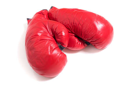 red gloves: A set of red boxing gloves on white