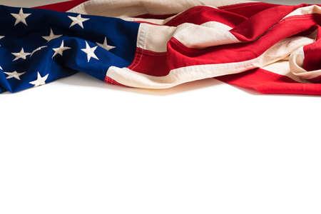 julio: Una bandera del vintage de los Estados Unidos de América en blanco con el espacio de la copia Foto de archivo