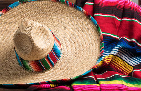 A traditional Mexican Sombrero and serape blanket on a yellow background with copy space