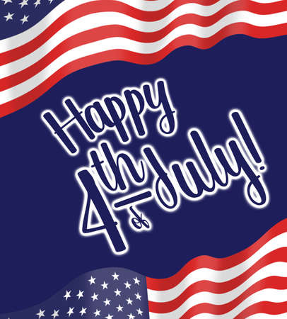 Happy 4th of JUly, Independence day, illustration with greeting and American flag graphic