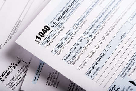 United States individual tax forms. Form 1040 and others