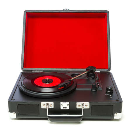 A classic record player or turntable with record portable 版權商用圖片