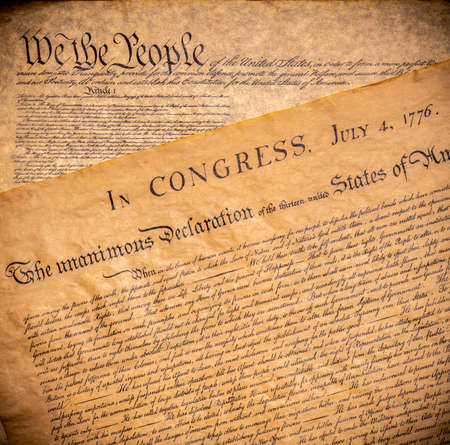 The founding documents the United States of America. The Declaration of Independence and constitution Stock Photo