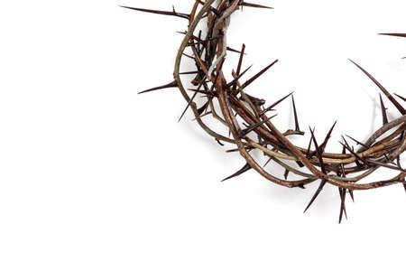 Une couronne d'épines sur fond blanc. Thème de Pâques