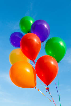 Colorful balloons on a beautiful blue sky 스톡 콘텐츠