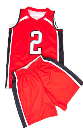 Red basketball uniform on white background 스톡 콘텐츠