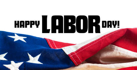 United States, American, flag on white background with Labor Day greeting 스톡 콘텐츠