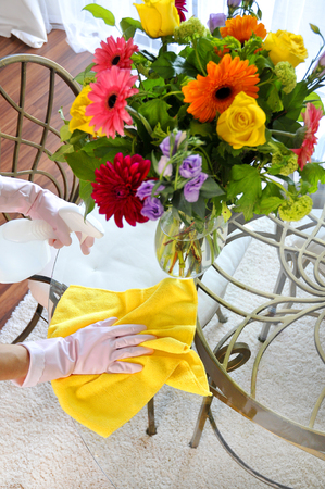 House cleaning, woman clean table a color towel and detergent Imagens