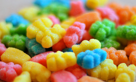 Colorful jelly candies on a background, jelly bears